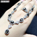 ZHHIRY Star Sapphire Gemstone Jewelry Set Genuine 925 Sterling Silver 100% Natural Stone Woman Sets  Prom Noble Precious