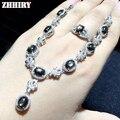 ZHHIRY Star Sapphire Gemstone Set Jóias Genuine 925 de Prata Esterlina 100% Conjuntos Mulher Prom Nobre Pedra Natural Precioso