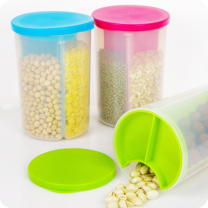 Candy Color Dismountable Storage Bottles Jars With 3 Slots For