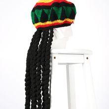 Unisex Novità Lavorato A Maglia Della Parrucca Della Treccia Cappello  Giamaicano Bob Marley Rasta Capelli Cappello 50b95f3d3a13