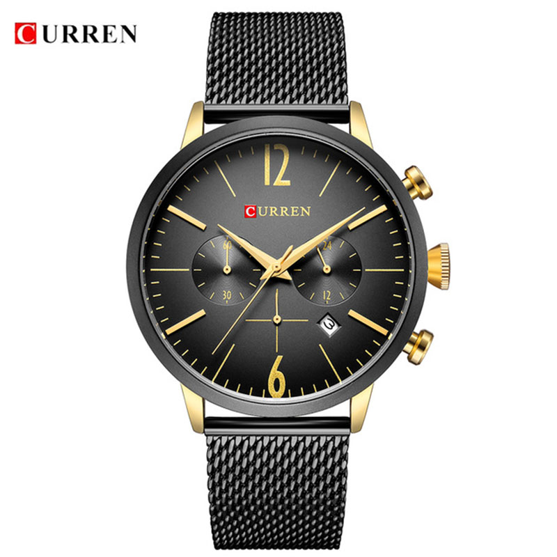 Relogio Masculino Luxury Brand CURREN Sport Chronograph Watches Men Mesh Band Multifunction Waterproof Quartz Watch dropshipping carnival watches men luxury brand multifunction quartz men chronograph sport watch dive 30m casual watch relogio masculino