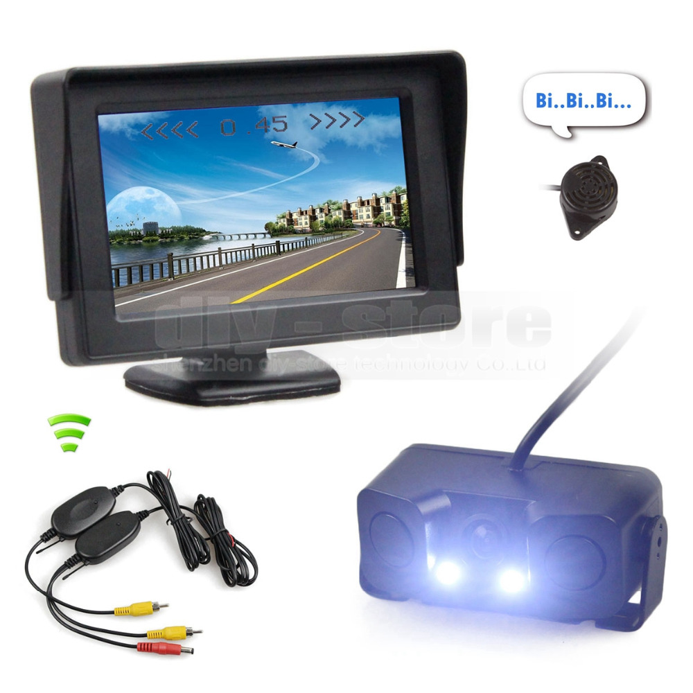 ФОТО DIYKIT Wireless 4.3 Inch Color TFT LCD Car Monitor + Waterproof Parking Radar Sensor Car Camera Parking System Kit