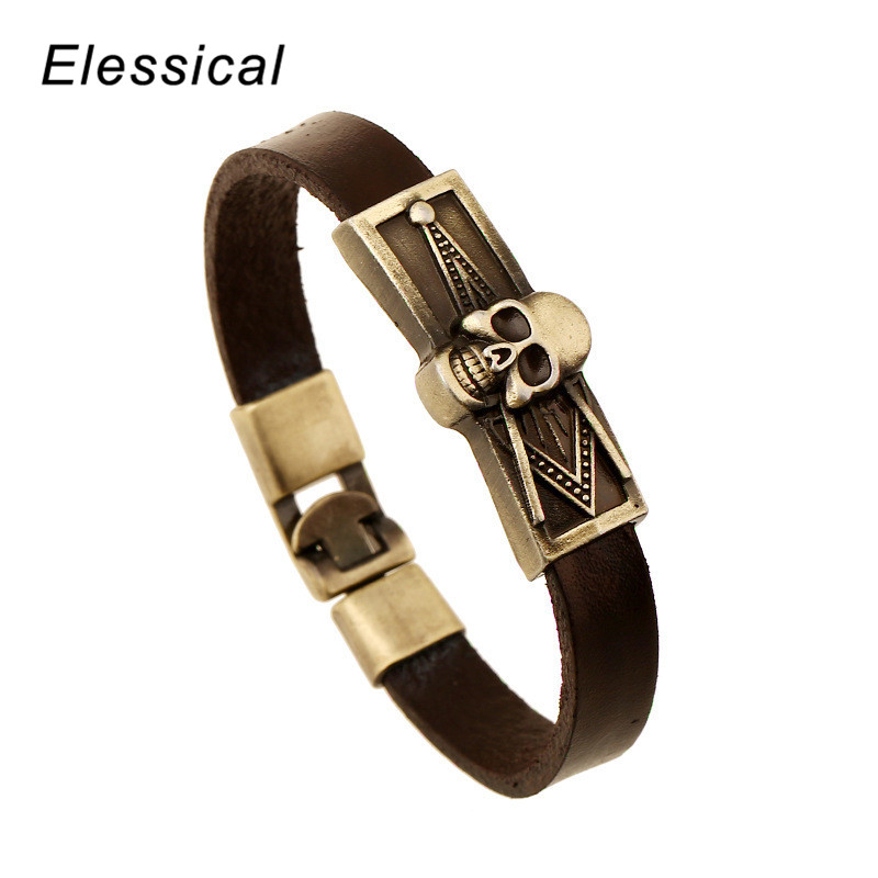 ELESSICAL National Style Retro Leather Bracelet Vintage Braid Leather Bracelets & Bangles Alloy Bracelet Jewelry for Women WD123