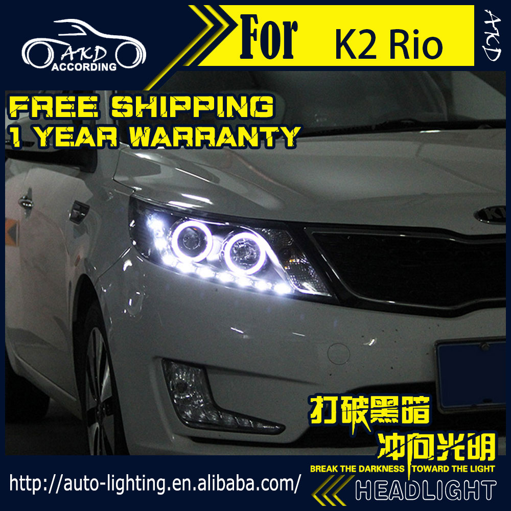 AKD Car Styling Head Lamp for Kia K2 Rio LED Headlight 2011-2014 K2 Angel Eye LED DRL H7 D2H Hid Option Angel Eye Bi Xenon Beam akd car styling led drl for kia k2 2012 2014 new rio eye brow light led external lamp signal parking accessories