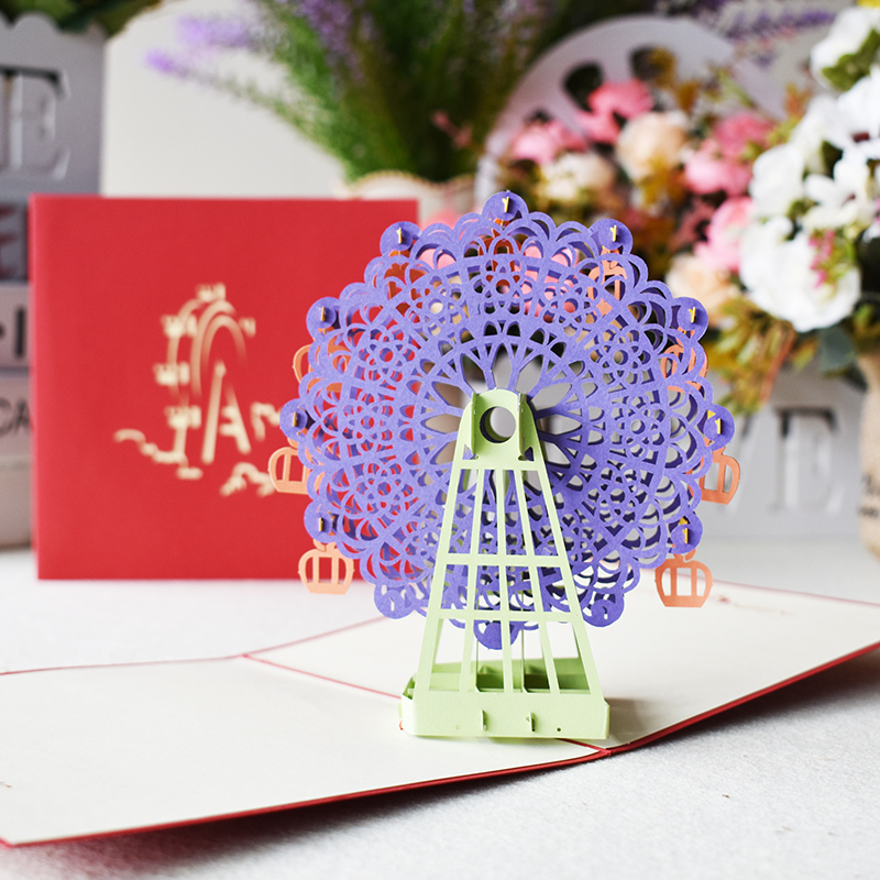 Swell 3 Color 3D Ferris Wheel Pop Up Card Birthday With Envelope Sticker Funny Birthday Cards Online Inifofree Goldxyz