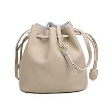2016 Hot Genuine Leather Bucket bag Lady bags Shoulder Messenger Handbag Quality Leather Girl Women Real Leather Fashion Solid