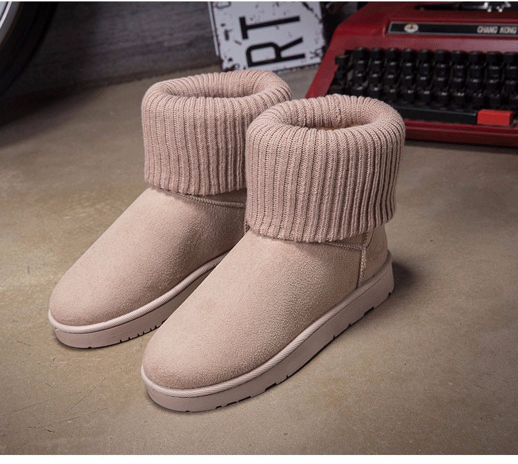KUYUPP Patchwork Knitting Wool Women Snow Boots Winter Shoes 2016 Flat Heels Warm Plush Ankle Boots Slip On Womens Booties DX119 (62)