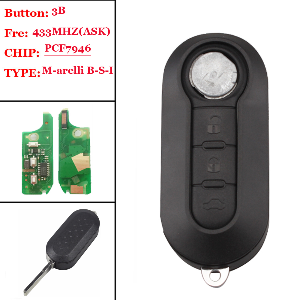 NEW Type (1pcs) 3 Button Remote Key Fob 433MHz ID46 For Fiat 500L MPV Ducato For Citroen Jumper For Peugeot Boxer 2008-2015