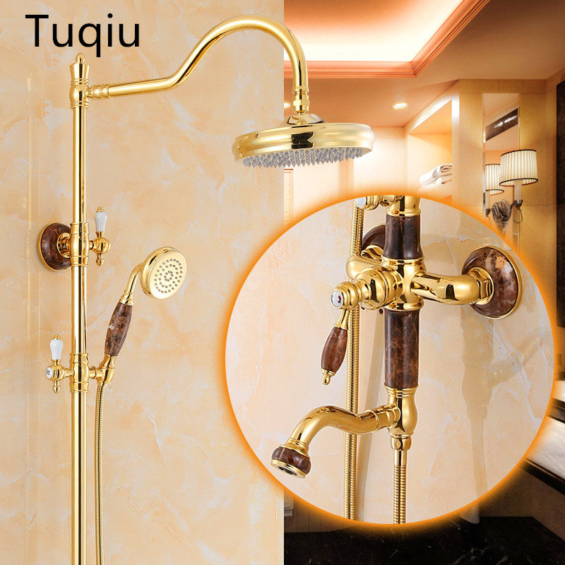 Luxury Gold Bath Rainfall Shower Faucet Set Brass and Jade Bathtub Faucet Tap with Hand Spray
