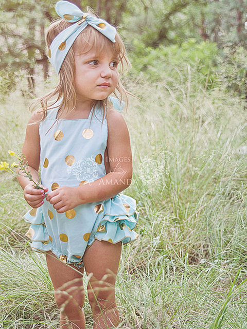1a3473601de5 gold glitter polka dot print toddler children cotton romper headband sparkly  Gold Sequins Baby bubble romper sunsuit beach baby