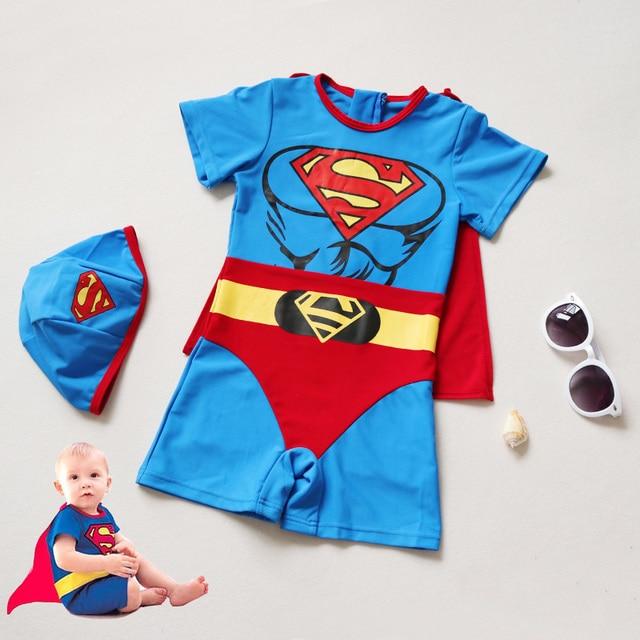 701b82f11a Baby Swimming Suit Boys Superman Swimsuit One Piece Swimwear Bathers Little  Infant Boys Bathing Suit Shark Swimming Suit
