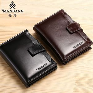 Image 2 - ManBang Genuine Leather Men Wallets Fashion Trifold Wallet Zip Coin Pocket Purse Cowhide Leather man wallet high quality