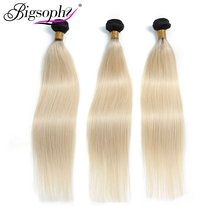 Bigsophy Hair Mongolian Straight 1B/613 Color Blonde Remy Human 3 Bundles Extension Ombre