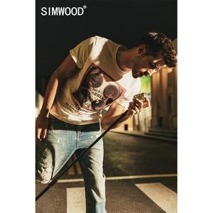 Image 1 - Simwood 2020 夏の新プリントヒップホップの tシャツの男性クール綿ストリート tシャツトップ tシャツ 190313