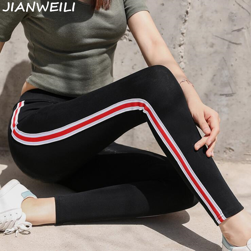 JIANWEILI Leggings Women Pants Autumn Legging Height Waist Casual Striped Gothic Fitness Leggings Sporting Pants Women Trousers