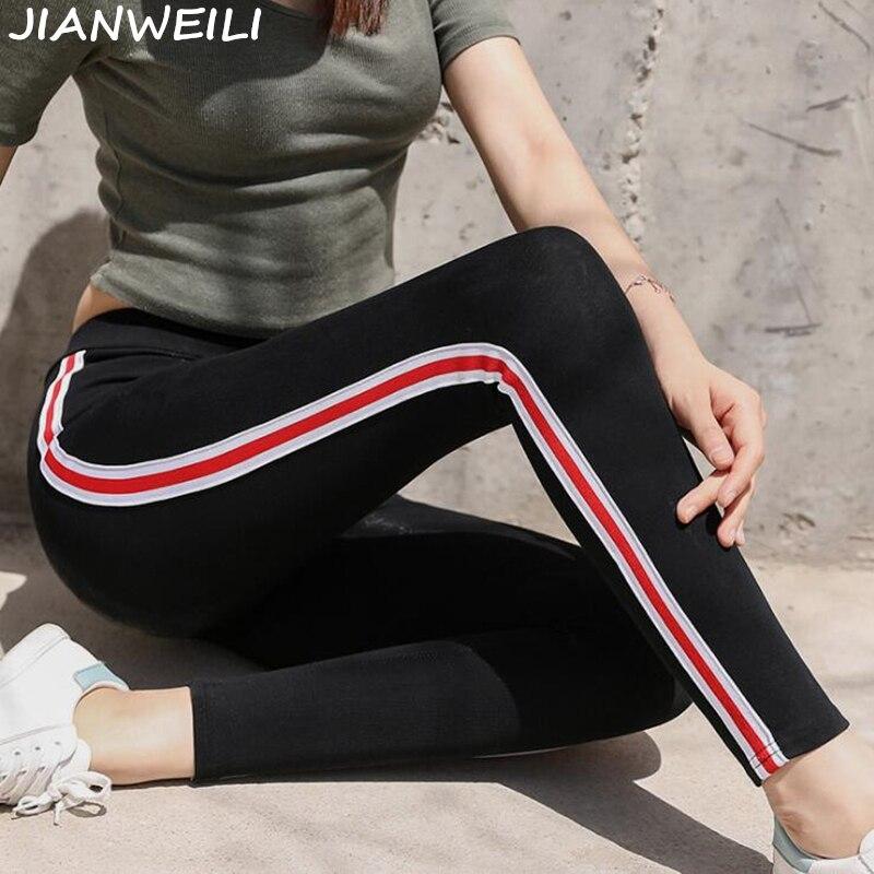 JIANWEILI   Leggings   Women Pants Autumn   Legging   Height Waist Casual Striped Gothic Fitness   Leggings   Sporting Pants Women Trousers