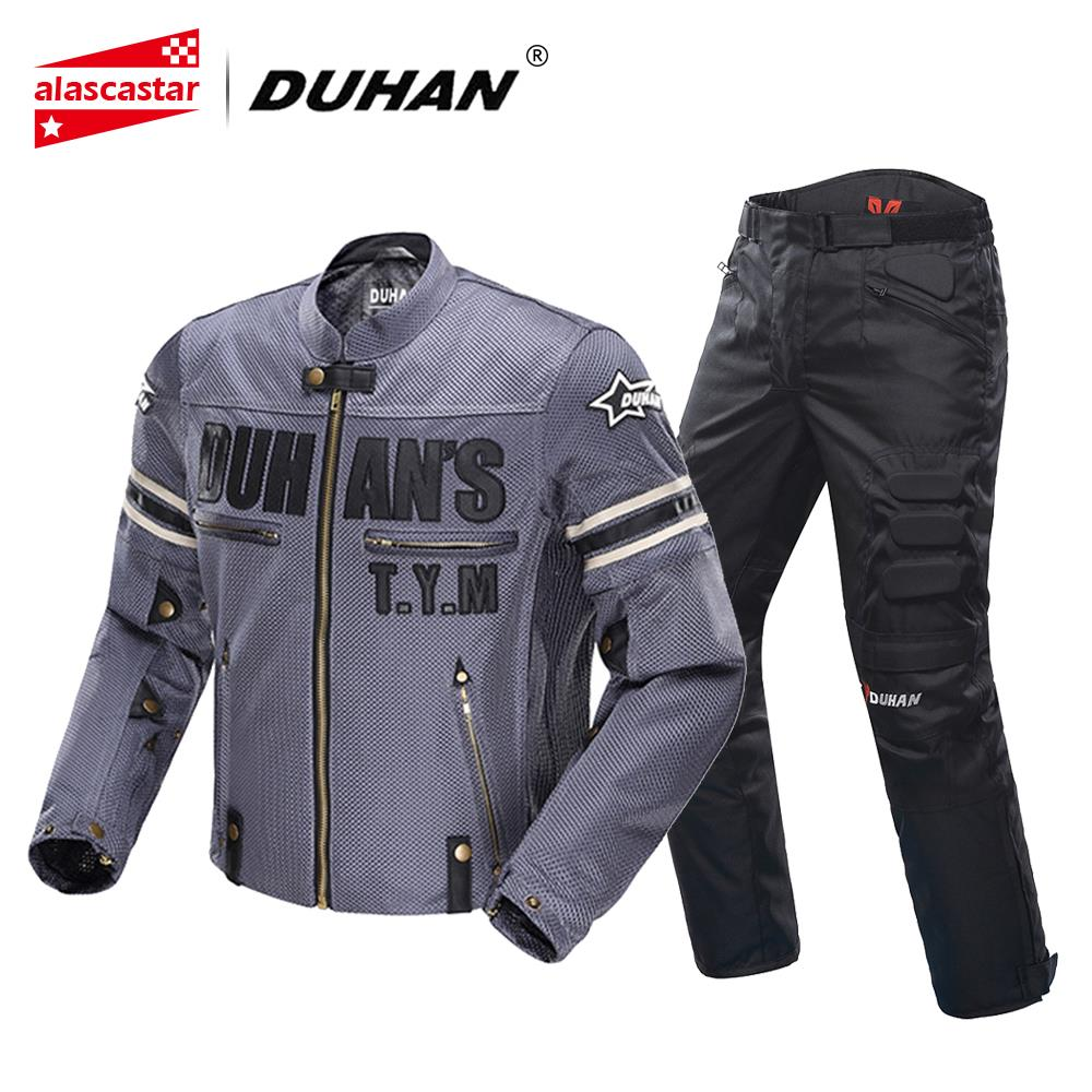 DUHAN Motorcycle Jacket Men Breathable Mesh Racing Summer Moto Jacket Riding Motorcycle Clothing With Removable Protector