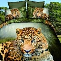 3D Öl Tiger Bettwäsche-sets, 4 stück bettwäsche-set ohne füllstoff, 3d öl Leopard Anaimal Kinder Bettbezug voll Königin Größe 100% Polyester