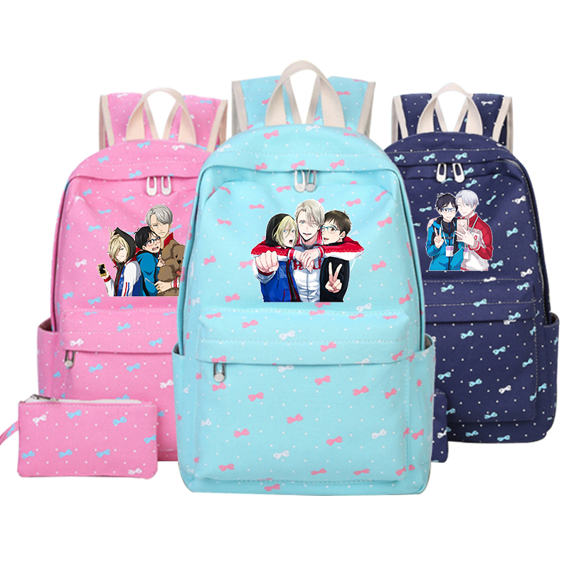 YURI on ICE School Bags Cartoon Backpacks Mochila Escolar Girls Boys Children School Bags Plisetsky Women Men Travel Bag Casual anime noragami aragoto yato backpack for teenage girls boys cartoon yukine children school bags casul book bag travel backpacks