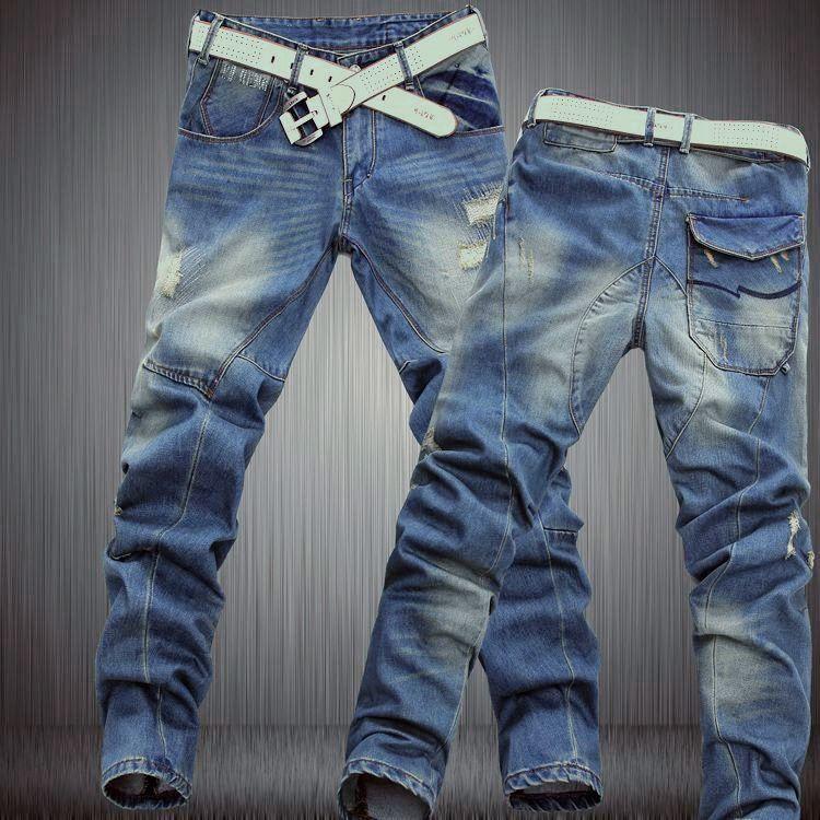 e6bc591c71e2e 2016 Nuevo estilo coreano de marca pantalones de mezclilla de diseñador  corte dimensional para los hombres