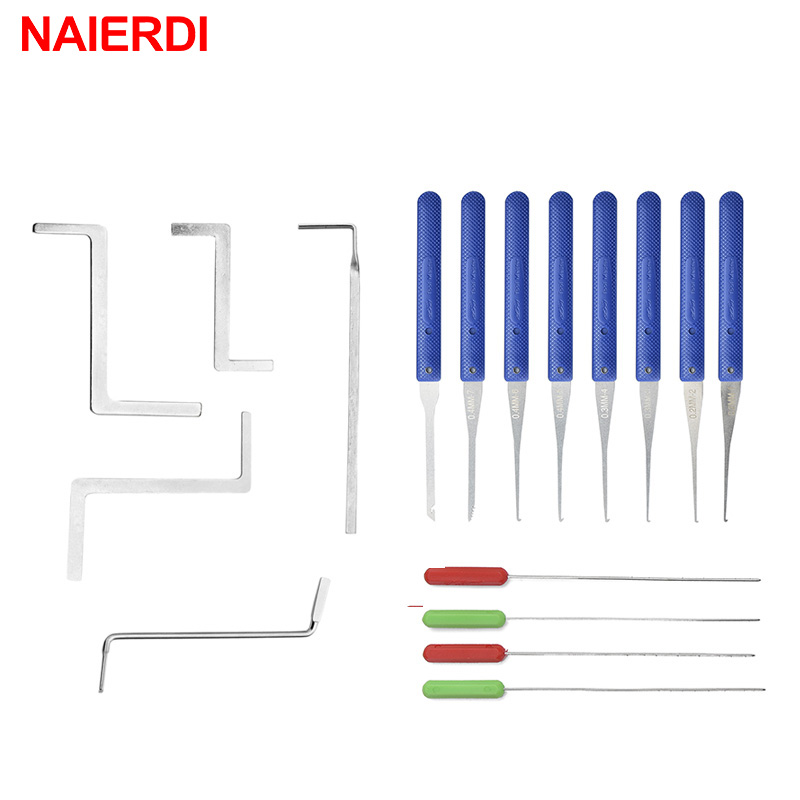 17PCS NAIERDI Locksmith Supplies Hand Tools Lock Pick Set Row Tension Wrench Tool Broken Key Auto Extractor Remove Hook Hardware