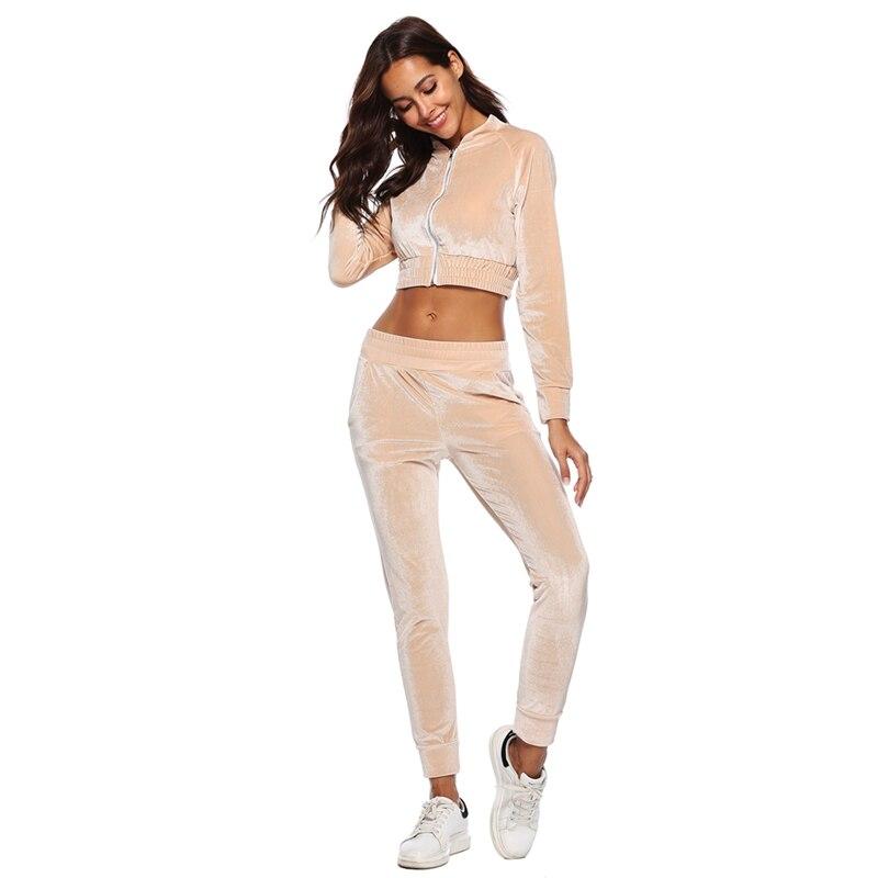 2018 automne velours étincelle Sexy deux pièces ensemble Sportswear survêtements femmes Zipper haut court + Slim pantalon complet costume femmes Sportsuit