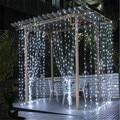 2016 3 M x 3 M 300 LED Casa Ao Ar Livre Branco Morno Decorativa de natal Guirlandas Cortina xmas Fada Cordas Luzes Do Partido Para casamento