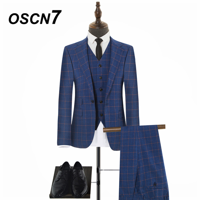 cd7ae658b06 OSCN7 High-end Blue Plaid Tailor Made Suits Men Business Casual 3PCS Brand  Clothing Groom Men Suit S-WVT-0009-50 S-WVT-0009-70