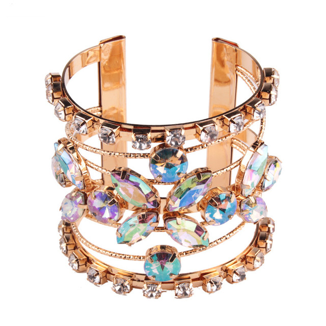 New Bohemian Wedding Gift Luxury Cuff Bangles for Women Shiny Row Maxi Charm Bracelets Hot Statement Bangle