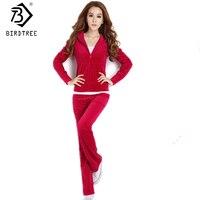 Velvet Tracksuits 2 Piece Set Women Sport Suit Casual Long Sleeve Tops And Elastic Waist Pants