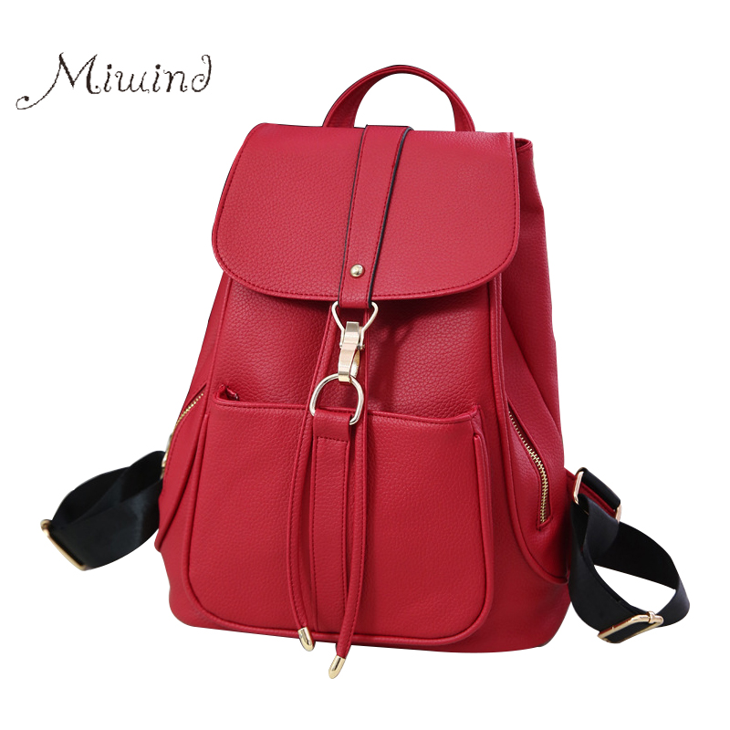 Women Backpack For Teenagers Girls Laptop Waterproof Leather Candy Color Luxury Designer Fashion Rucksack Ladies Drawstring