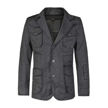 New Fashion Jacket Men Casual Suit Blazer V-Neck Single Blazer Jacket Vintage Spring Autumn Male Clothes