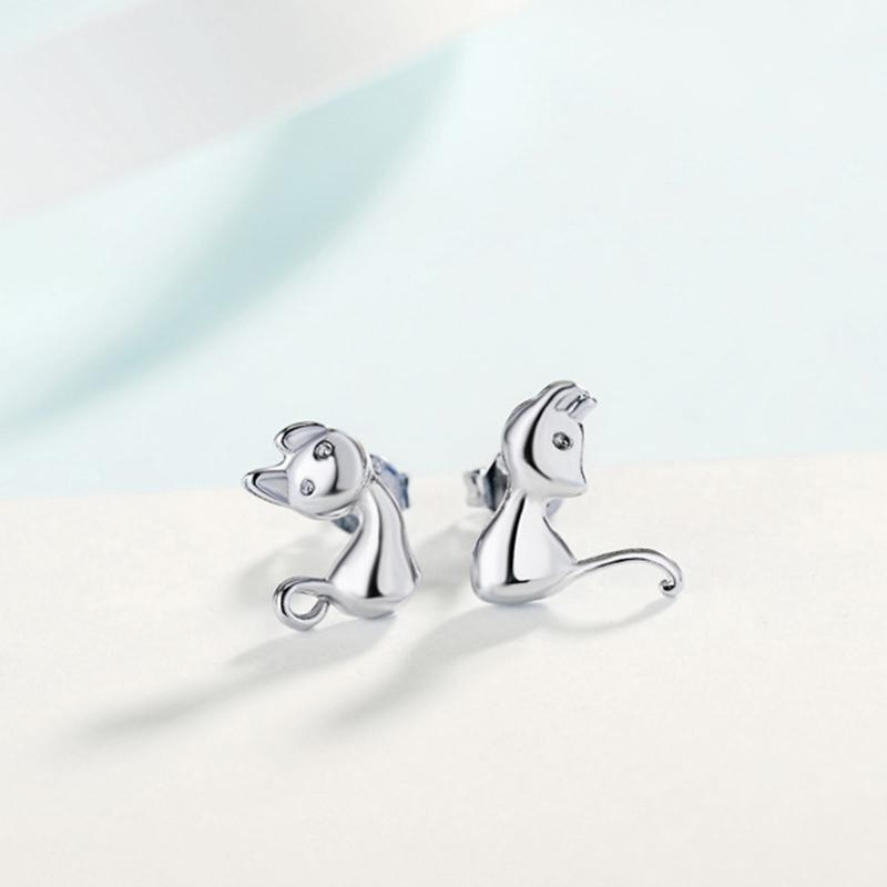 Cute Cat Animal 925 Stamp Silver Stud Earrings For Women Femme Funny Pet Cat Russia Style Ear Accessory Simple Jewellery E618 in Stud Earrings from Jewelry Accessories
