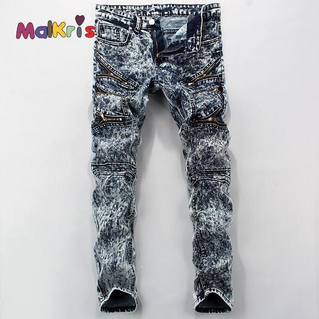 5d29052a46 Malkris Longitud Moda Mancha Gris Jeans Hombres Diseñador de la Marca de  Pantalones de Mezclilla de