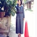 Frete Grátis 2016 Moda Malha de Algodão Vestidos Longos Para As Mulheres Mais tamanho One-piece V Neck Vestidos S A XL Azul Estiramento Vestido