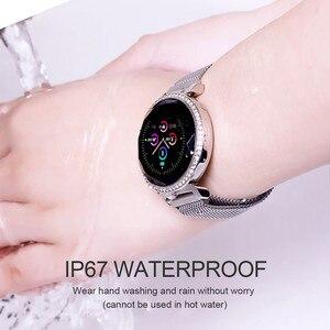 Image 5 - ASKMEER MC11 pulsera inteligente de lujo para mujer, con diamantes de imitación, control del ritmo cardíaco y de la presión sanguínea, reloj femenino con mensajes y recordatorios