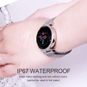 Image 5 - Женский Смарт браслет ASKMEER MC11, роскошные стразы, пульсометр, монитор кровяного давления, часы с напоминанием о сообщениях