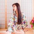 2016 invierno plus remiendo del cordón de la novia damas de honor wedding party seda robe de las mujeres lencería sexy kimono robes camisón ropa de dormir