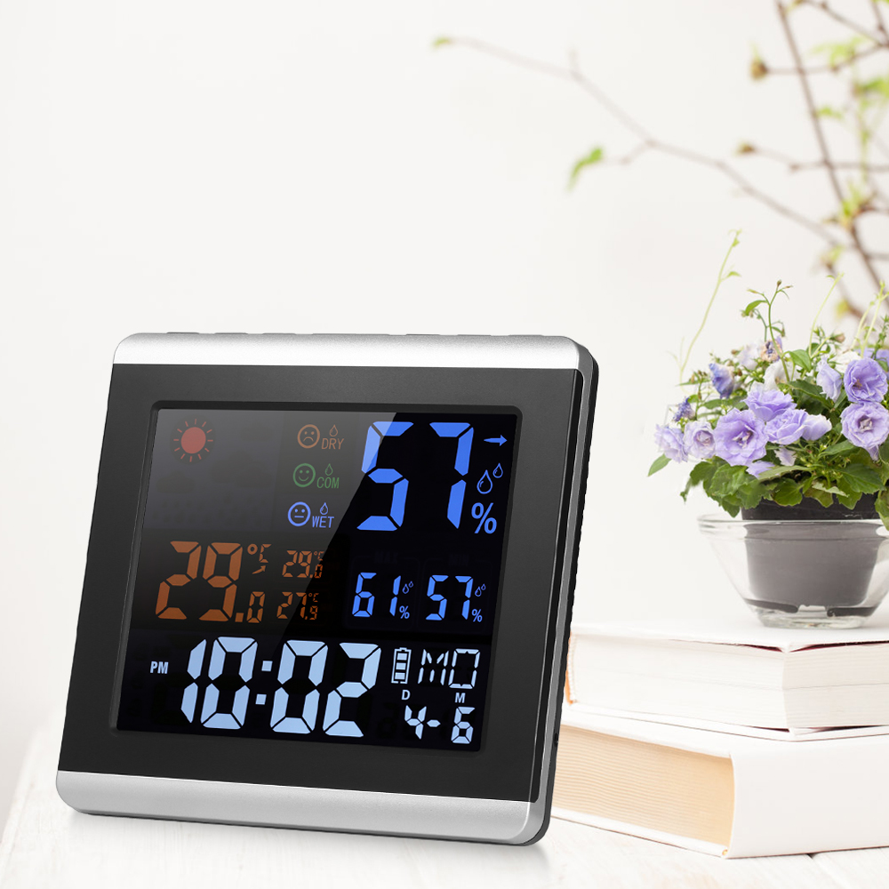 Indoor Digital Color Thermometer Hygrometer Clock LCD Temperature Humidity Meter Alarm Function Calendar Weather Station