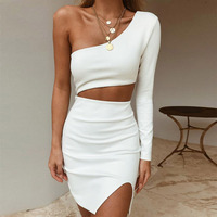Seamyla New Arrivals Bandage Dress Sexy Bodycon White Black Evening Party Dresses One Shoulder Night Out Summer Club Dress 2019
