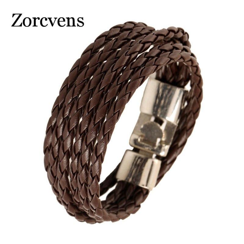 Zorcvens 2018 Мода Повседневное личность тканые браслет Кожаные браслеты Для мужчин коричневый кожаный браслет унисекс ювелирные изделия