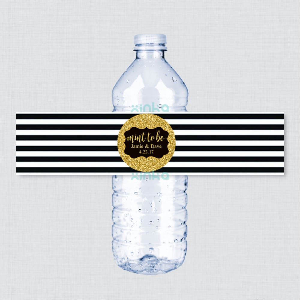 Gold Water Bottle Labels, Personalized Wedding Water Bottle Labels, Bridal Shower, Striped Water bottle labels black White