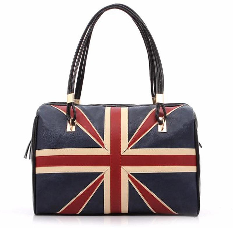 New Fashion Women British Style Union Jack Uk Flag Leather Handbag Vintage Shoulder Bag Las Casual