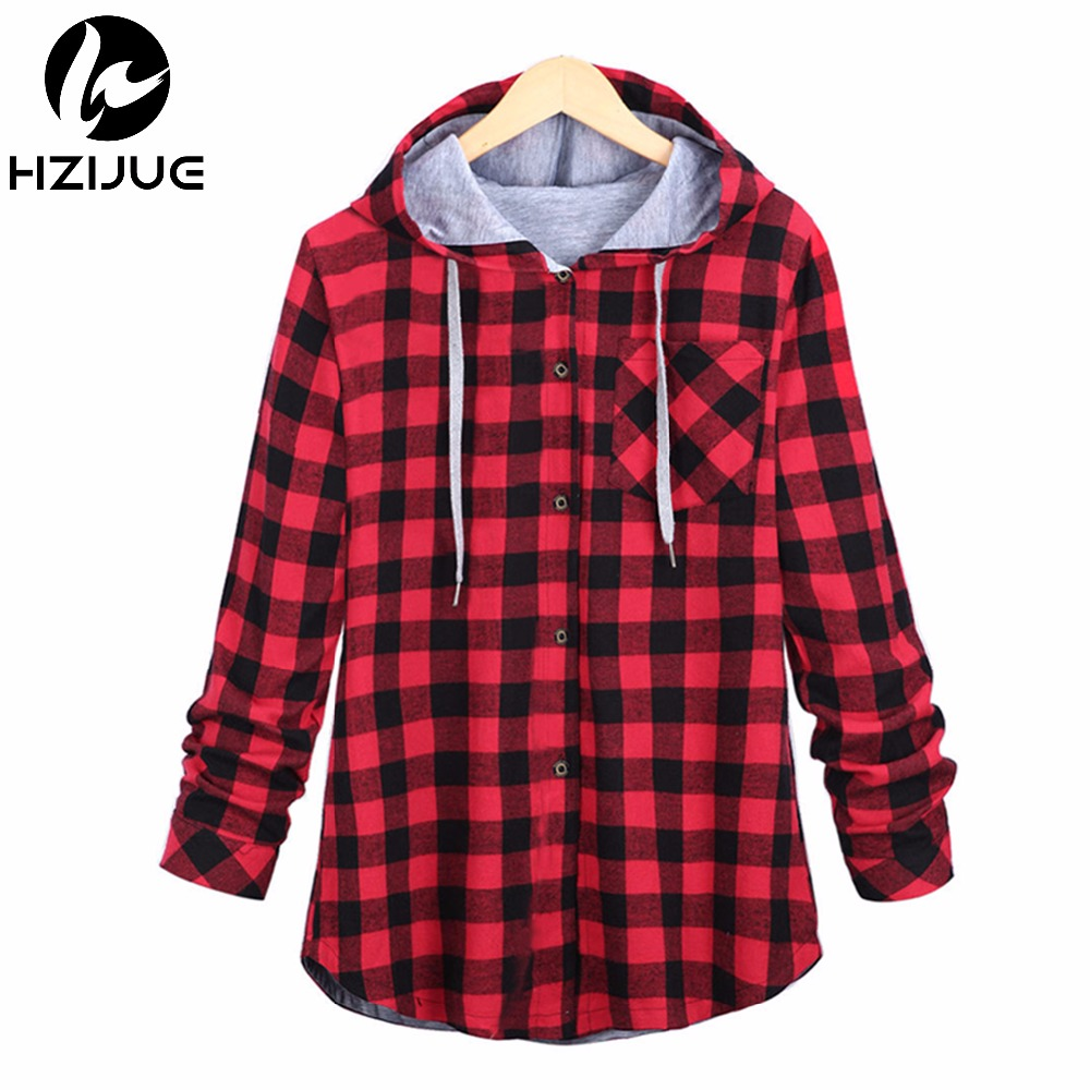 HZIJUE Fashion Women Hoodies Cotton Autumn Winter Coat Long Sleeve Plaid cotton Hoodies Casual button hooded