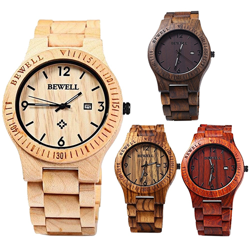 New Arrival Fashion Men Luxury Natural Maple Wooden Handmade Quartz Movement Cas