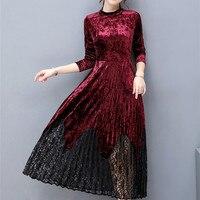 Kadın Sonbahar Kış Zarif Kadife Uzun Kollu Elbiseler Vintage Çalışma İş Ofis Parti A-line Uzun Elbise Moda Vestidos