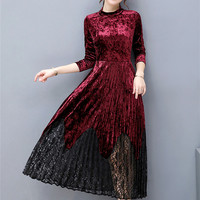 Women Autumn Winter Elegant Velvet Long Sleeve Dresses Vintage Work Business Office Party A Line Long
