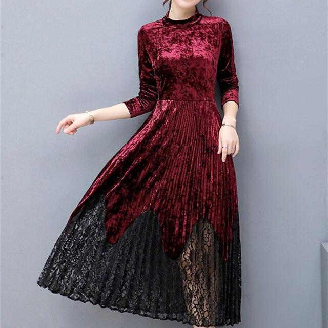 Yawdcv Women Spring Autumn Elegant Velvet Long Sleeve ... 07f9b5dc4