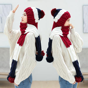 Image 4 - 2018 새로운 겨울 모자 소녀 귀여운 따뜻한 세트 크로 셰 뜨개질 모자 니트 모자 스카프 pompon beanies 목도리 솔리드 위브 플러스 벨벳 모자를 쓰고 있죠