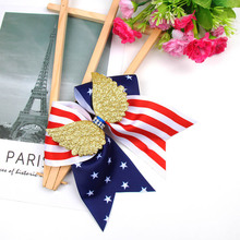 AHB 4th of July Large Hair Bows for Girls Cheer with Elastic Band Gold Wing Independence Day Festival Party Headwear